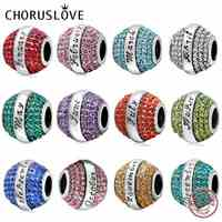Choruslove Birthstone Charm 12 Month Pave Crystal Beads 925 Sterling Silver Beads Fit Pandora Charms Birthday Gift Bracelets