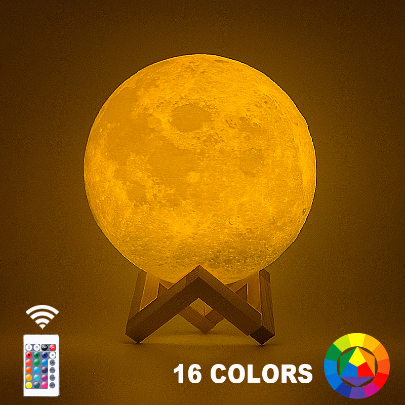 Dropship 3D Print Moon Lamp 20cm 18cm 15cm Colorful Change Touch USB Led Night Light Home Decor Creative Gift