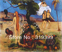 Oil Painting Reproduction on Linen canvas,Adam and Eve or Paradise Lost by paul gauguin,100%handmade,landscape oil painting