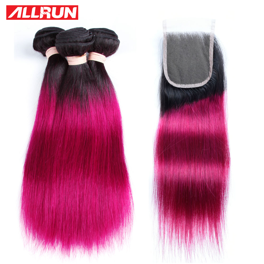 ALLRUN Peruvian Straight Hair 3 Pcs #T1B 118 Hair Extensions With 4*4 Lace Closure Two Tone Colored Non Remy Human Hair Weave
