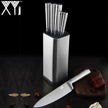 XYj Stainless Steel Kitchen Knives Set Accessories Holder Block Stand Fruit Paring Utility Santoku Chef Slicing Bread Knive Tool(China)