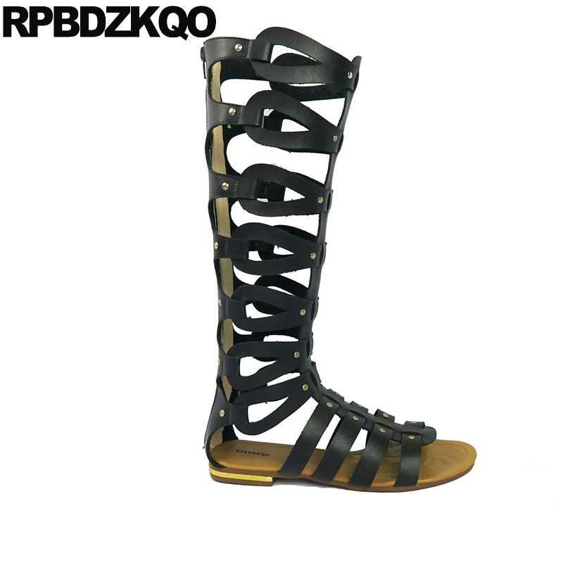 532b35bb9c4 ... Boots Strappy Open Toe Big Size Blue Brown Knee High Gladiator Sandals  Flat Summer Ladies Designer ...