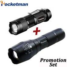 Drop Shipper Promotie Set! Led Zaklamp T6 Tactische Flash Light + Q5 Mini Fakkel Lanterna Zoomable Waterdichte Zaklamp Fiets