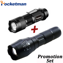 Drop Shipper Promotion Set! LED Flashlight T6 Tactical Flash Light + Q5 Mini Torch Lanterna Zoomable Waterproof Flashlight Bike