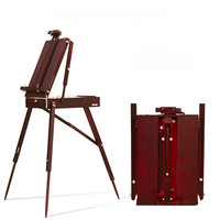 Portable sketching easel for artists painting wood oil easel box with handle adjustable wooden artist tabletop box cavalete art