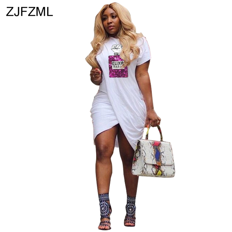 ZJFZML Newspaper Print Sexy T Shirt Dress Women Turn-Down Collar Long  Sleeve Loose Dress Casual Double Side Slit Plus Size Dress f3c632e0f956