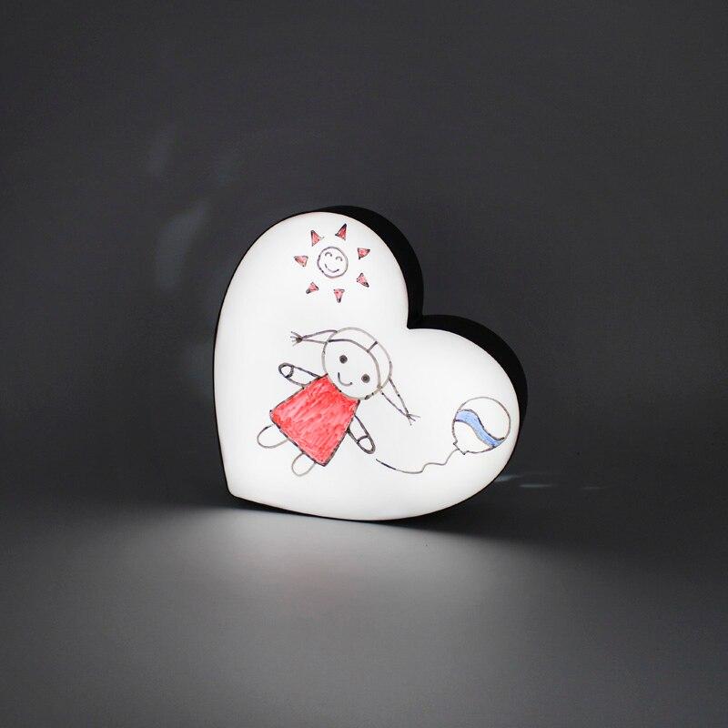 Лидер продаж Романтический персик сердца светодиодный рукописный DIY Комбинации светодиодный ночник коробка ночника вечерние Декор свет Ки...