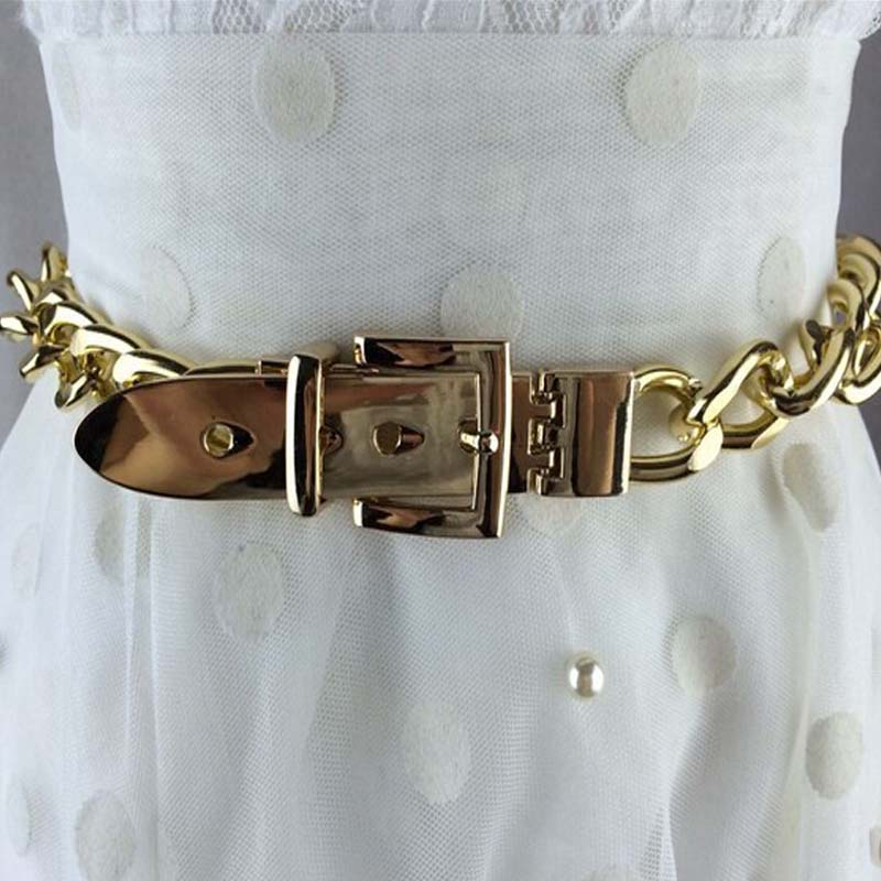 Fashion Gold Silver Chian Belt Waist Decoration Metal Belts Female Silver Rhinestone Chuny Punk Designer Belt For Women