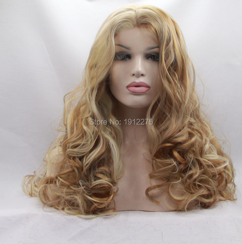 ФОТО new arrival top quality mix color blonde hair wig blonde synthetic lace front wig long wavy hair heat resistant fiber