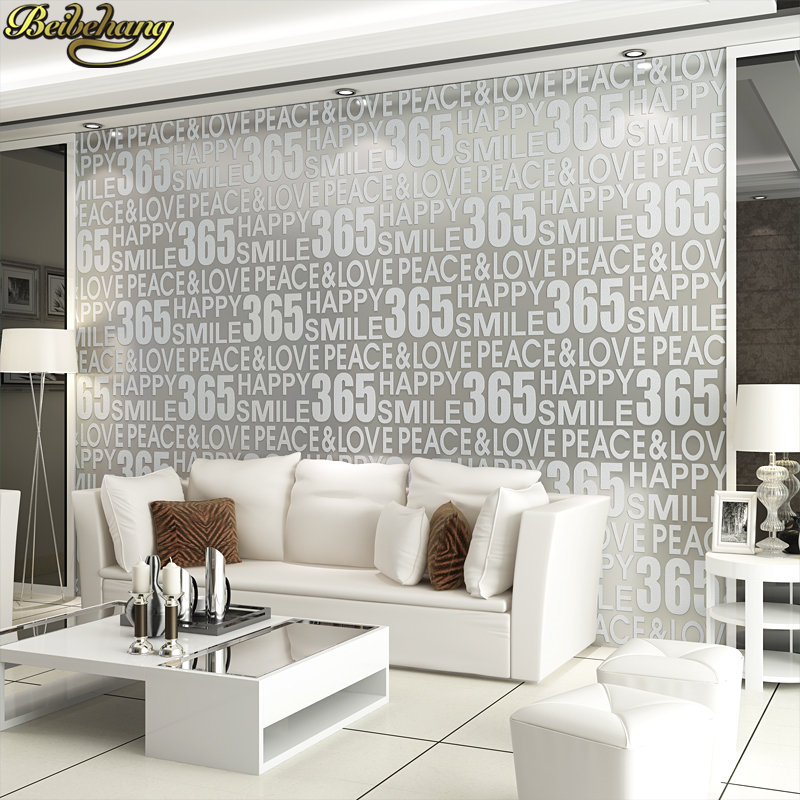 beibehang papel de parede 3D Luxury letter Modern Wallpaper for living room decoration number wall papers home decor background beibehang papel de parede 3d wallpaper for living room floral wall papers home decor mural wallpaper dark green tv background