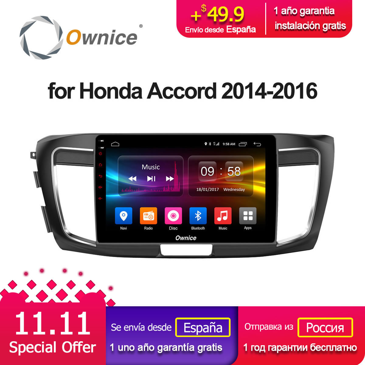 Ownice C500+ G10 10.1 Android 8.1 For honda ACCORD 2014 2015 2016 Car Radio GPS player 2GB RAM 32GB ROM Support DVD 4G SIM Card ownice c500 4g sim lte octa 8 core android 6 0 for kia ceed 2013 2015 car dvd player gps navi radio wifi 4g bt 2gb ram 32g rom