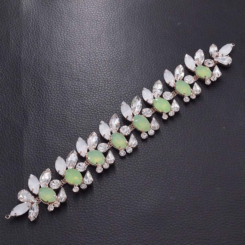 Acheter 10 pcs Opale strass appliques pour la robe de mariage en cristal clair correctifs vêtements faits à la main patch rose d'or à coudre artisanat SM 291 de Strass fiable fournisseurs