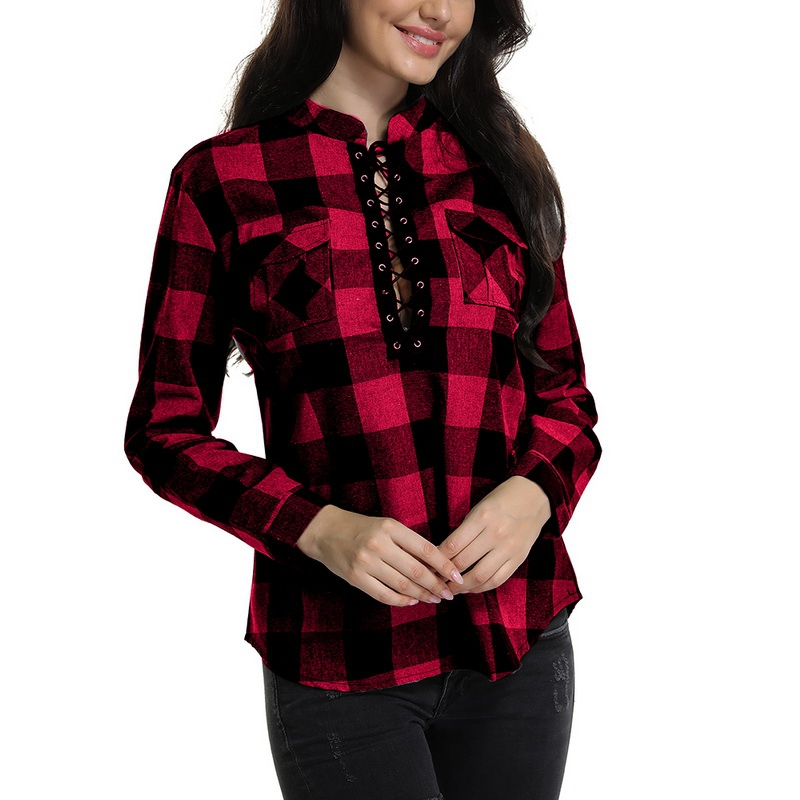 Laamei Women Plaid   Shirts   2019 Spring Long Sleeve   Blouse     Shirts   Office Lady Lace Up Tops Tunic Casual   Shirts   Plus Size 5XL