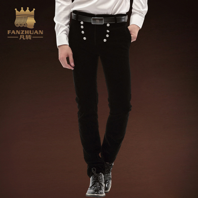 FANZHUAN Brands Clothing Casual Pants Men Fall Long Pants Elastic Male Trousers For Men Gothic Fashion Button Full Length Pants