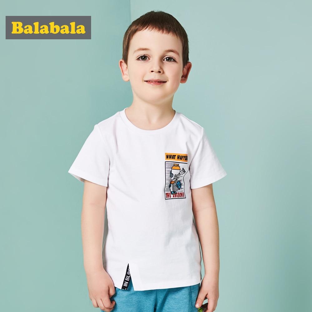 Balabala T-Shirt Clothing Tops Short-Sleeve Toddler Boys Cotton Cartoon Children Summer