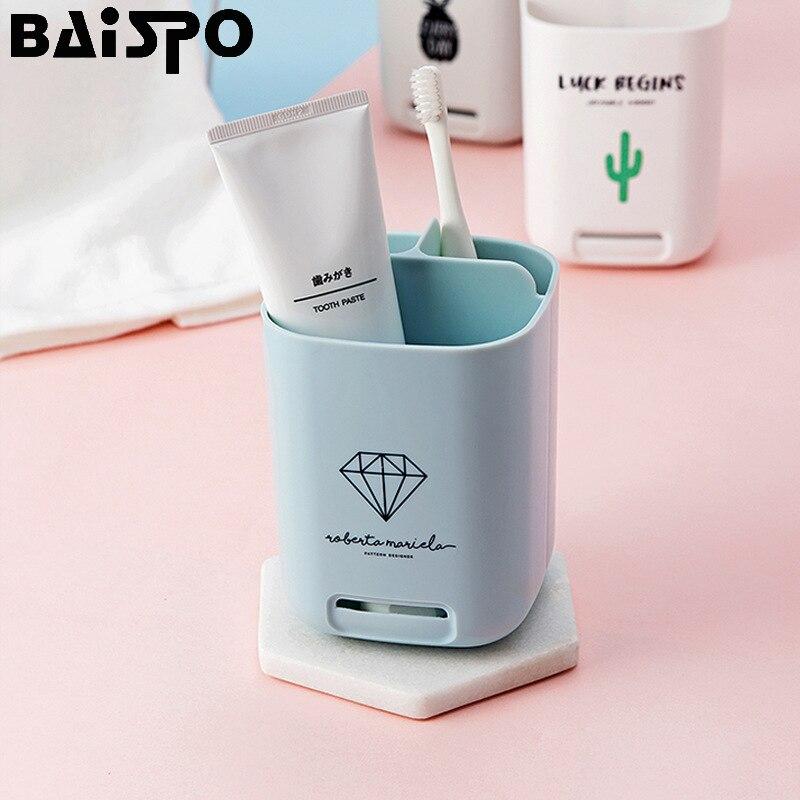 Verantwoordelijk Baispo Badkamer Elektrische Tandenborstel Tube Tandpasta Houder Badkamer Opslag Kaptafel Nail-gratis Opslag Cup Badkamer Set Nieuwste Technologie