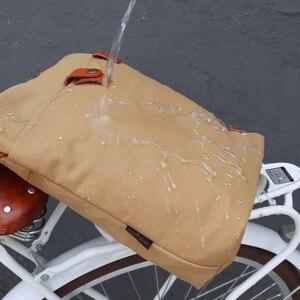 Image 5 - Tourbonレトロワックスキャンバス自転車ポーチバイクリアバッグブラウンサイクリングパニエバッグパック都市トート撥水