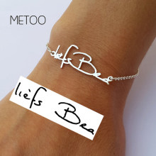 METOO 2019 Custom Name Bracelet Baby Handwriting Signature Love Message Customized Gift Charms Handmade Women Kids Baby Jewelry(China)