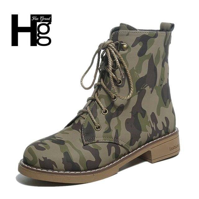 HEE GRAND Haute Qualité Femmes Désert Bottes Chaud Zip Armée Vert Automne  Chaussures Dame Fille Camouflage a9324d44a35