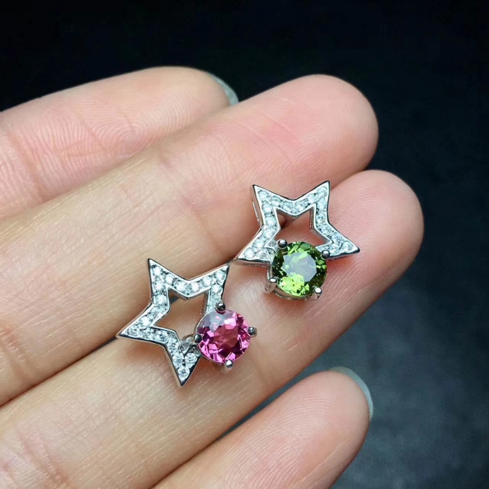 все цены на Natural red tourmaline Elegant earrings star stud earrings 925 silver natural green tourmaline earrings women party gift jewelry онлайн