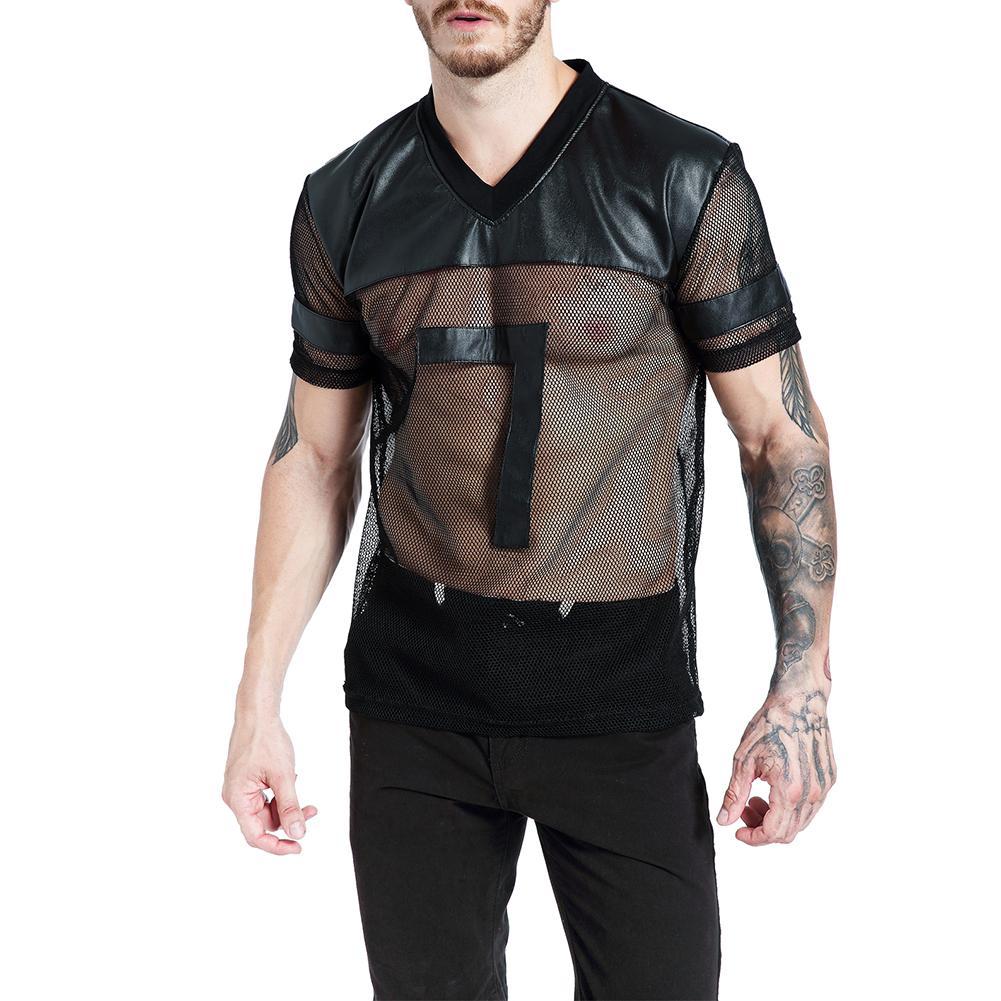 Top Faux-Leather T-Shirt Short-Sleeve Fishion V-Neck Mesh See-Through Sexy Men Summer