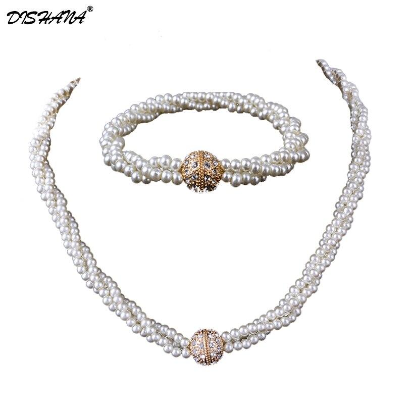 e3e9bffd6795 Perla Juegos de joyería collar y pulsera para nupcial africano Cuentas boda  clásica moda austriaco (JS0010)