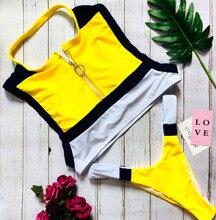 Women Bikini High Neck Zipper Backless Stripe Line