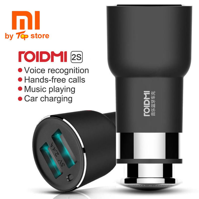 Original Xiaomi ROIDMI 2S 5V 3.8A Bluetooth Handfree Call Car Charger With Music Player Speaker Dual USB For iPhone Android