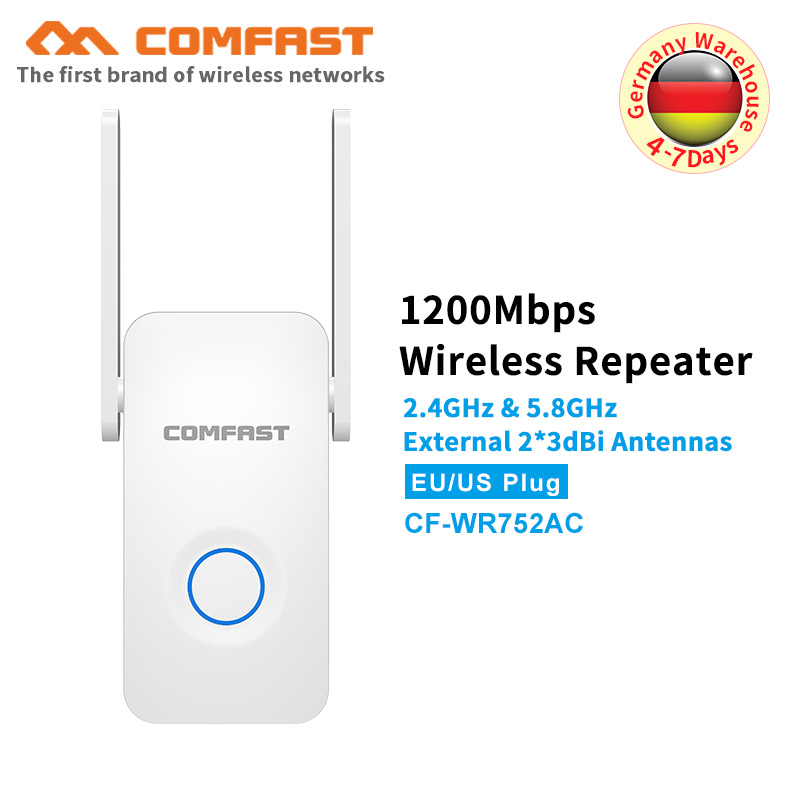 5Ghz Dual Band Dual Antenna 1200Mbps Gigabit WiFi Repeater WiFi Signal Amplifier Wireless Router Wi Fi Range Extender Booster AP