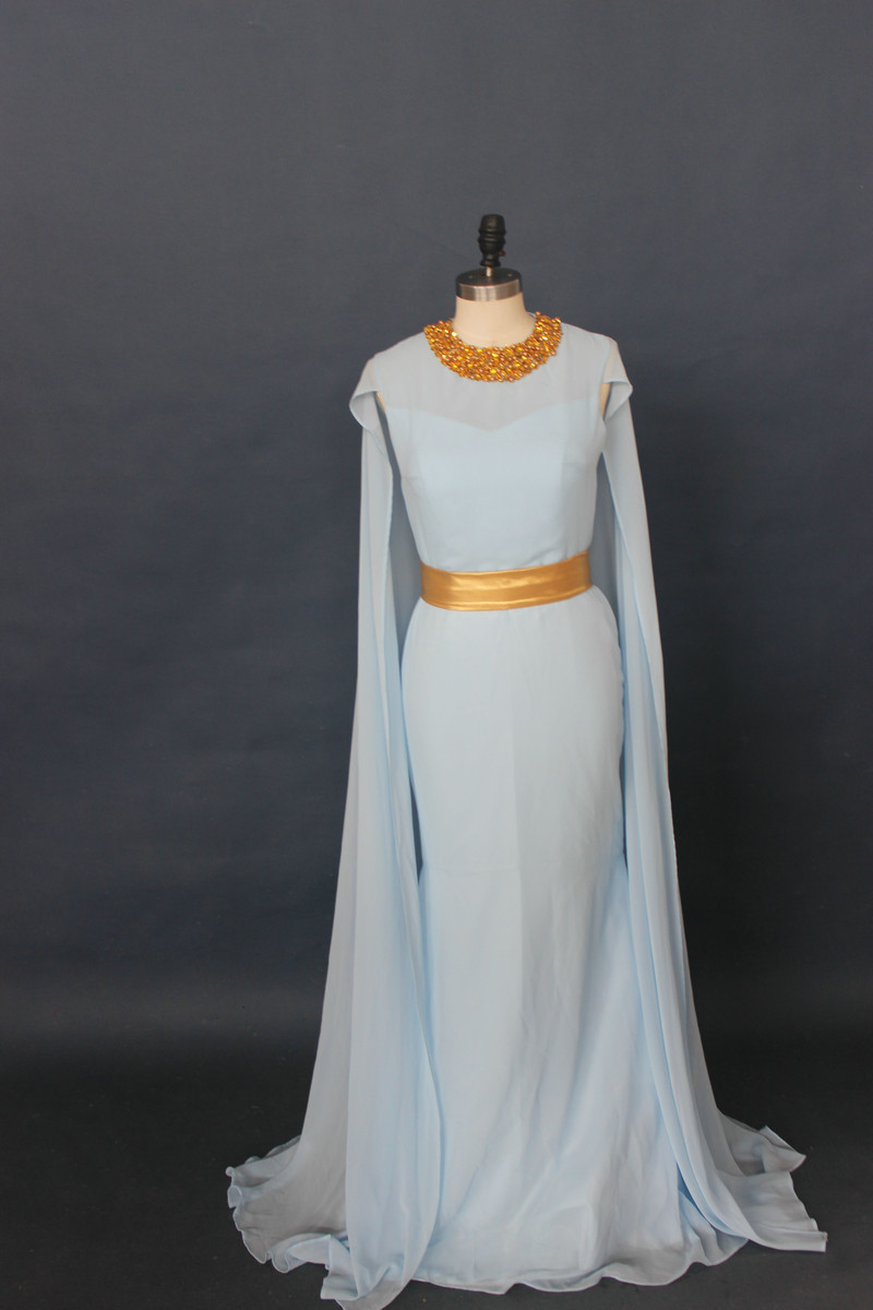 New Blue Arabic Evening Dresses With Capes Long Mermaid African ...