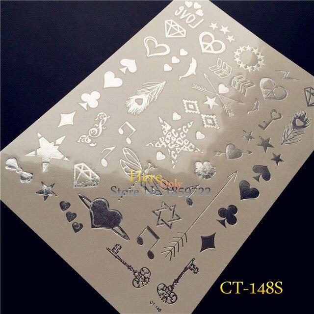 1PC Small Cute Pattern Silver Metallic Finger Tattoo Spade Heart Diamond  Club H148S Key Melody Design Temporary Tattoo Dragonfly 6772f2529ecc