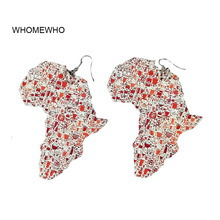 Africa Map Natural Wood African Afro Printing Flower Silver Metal Earrings Vintage Bohemia Party Jewelry Wooden DIY Accessories
