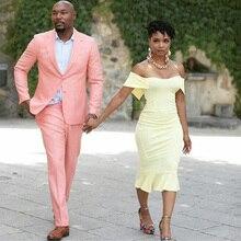 Pearl Pink Casual Mens Suits Groom Wear Wedding Tuxedos Slim Fit Bridegroom Best Man Blazer Costume Homme 2PcsJacket Pants