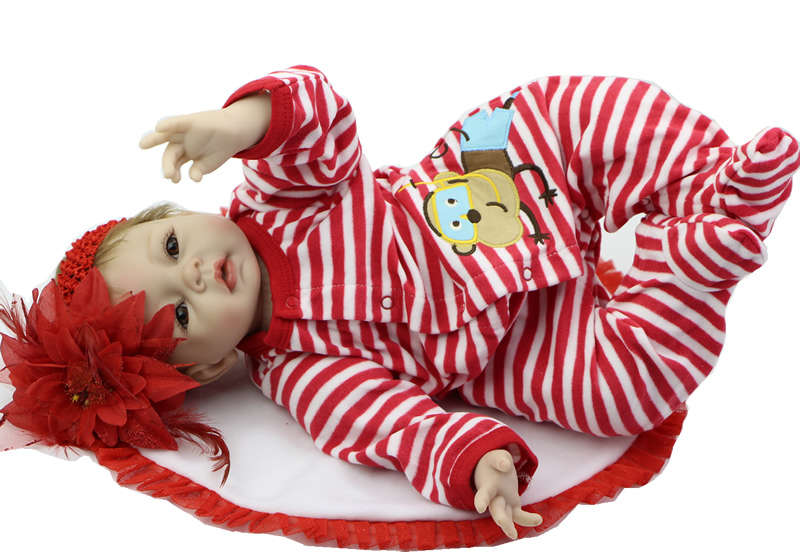 22 Inch Silicone Baby Reborn Dolls NPK Collection Doll Handmade Newborn Babies Kids Birthday Xmas Gift