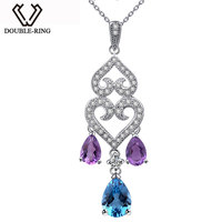DOUBLE R Water Drop Pendants Women Amethyst 925 Sterling Silver Blue Necklaces Pendants Black Friday Fine Jewelry CAP02428A