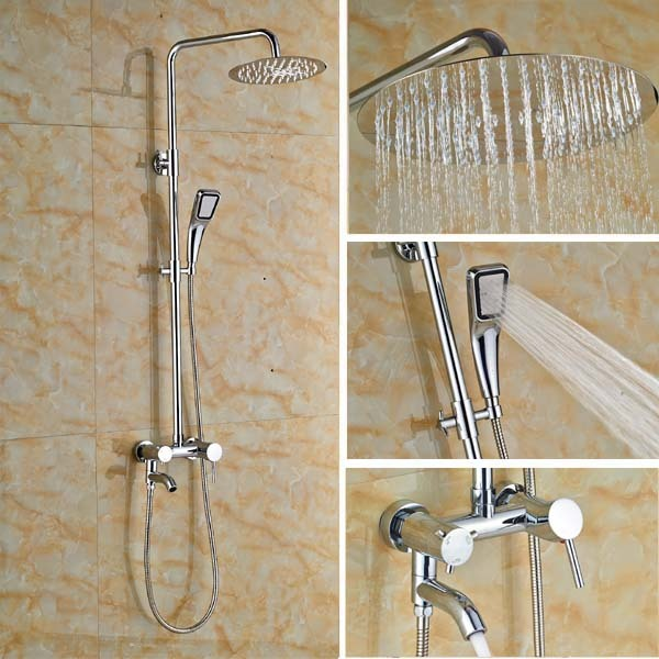 10 Rain Shower Faucet System Tub Mixer Tap With Hand Head Chrome Br