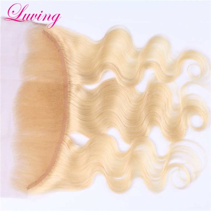 #613 blonde Color Malaysian lace frontal closur 13*4 free middle 3 way part lace frontal 100% virgin body wave human hair Front