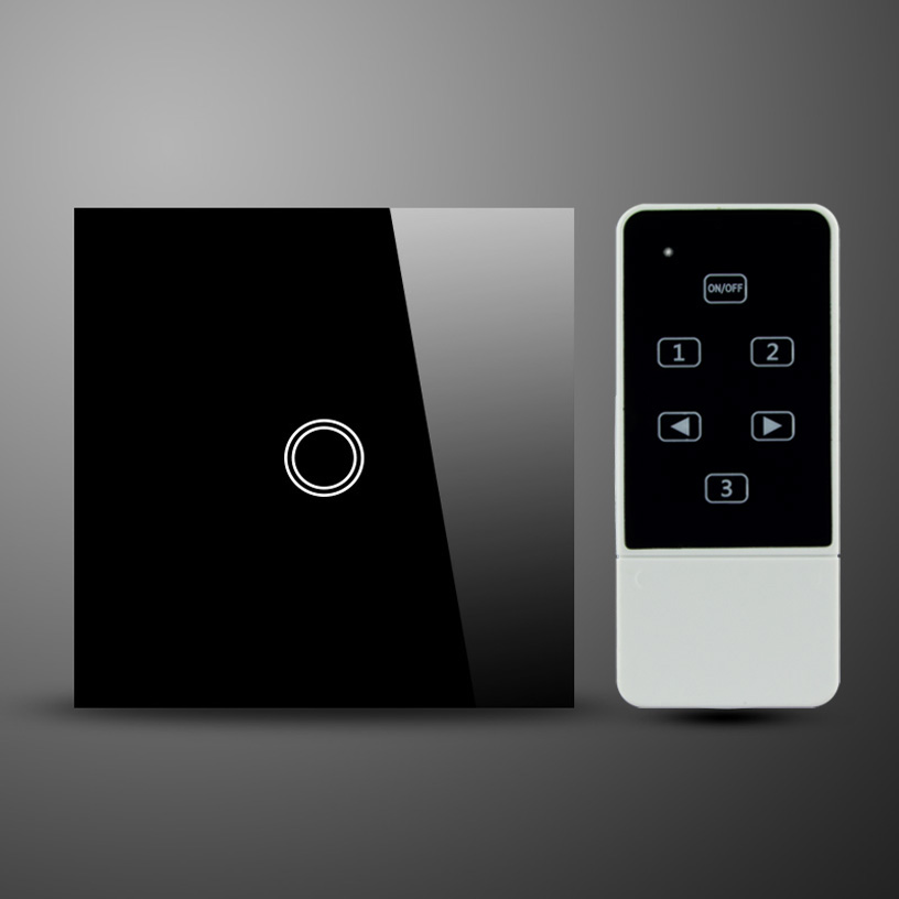 UK Standard White Crystal Glass Touch Panel Wireless RF Remote Control 1Gang Touch Electric Wall Switch new arrivals touch wall switch uk standard 2 gang 1 way rf light switches white crystal glass panel with wireless remote control