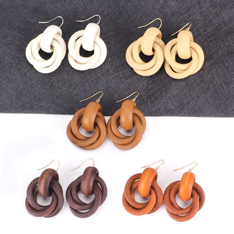 8SEASONS Fashion Jewelry Ear Hook Earring For Women Wood Round Bohemia Geometric White Brown Orange Color, 1 Pair