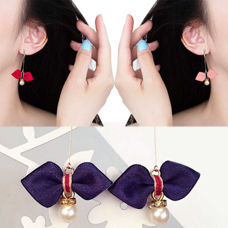New Arrival Korean 1Pair Gray green Wine red Pink Asphalt Earrings Girls Bowknot Women Long Pearl Free Shipping Allergy Free