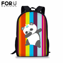FORUDESIGNS Colorfull Stripe BookBag Cute Panda Unicorn School Backpack Teenager Girls Boys Student 16 inch Satchel Daypack 2019