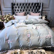 ผ้าฝ้ายอียิปต์ Luxury King Queen ชุดเครื่องนอนเย็บปักถักร้อยผ้านวมครอบคลุมคลาสสิกสีฟ้าเตียงสีชมพูชุด couvre Lit De luxe