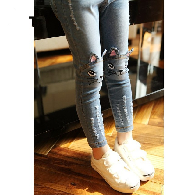 Kids jeans 2016 Spring Autumn torn children cartoon cat mouse girls pants pencil trousers ripped denim skinny Jeans for girls