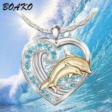 цены на Cubic Zirconia Love Heart Necklace Blue Crystal Dolphin Pendant Necklace Women Rhinestone Statement Necklace Jewelry Girls Gift в интернет-магазинах
