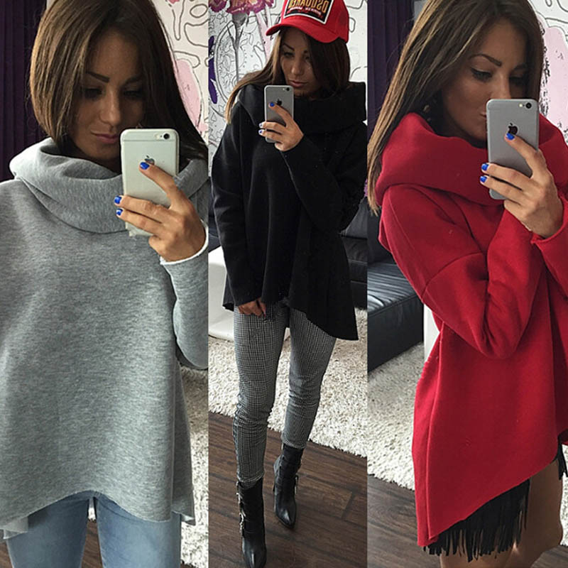 2018 Casual Grey Hoodies Sweatshirts Women M-XL Full Sleeves Solid Casual Style winter Tops irregular Shawl Collar Sweatshit