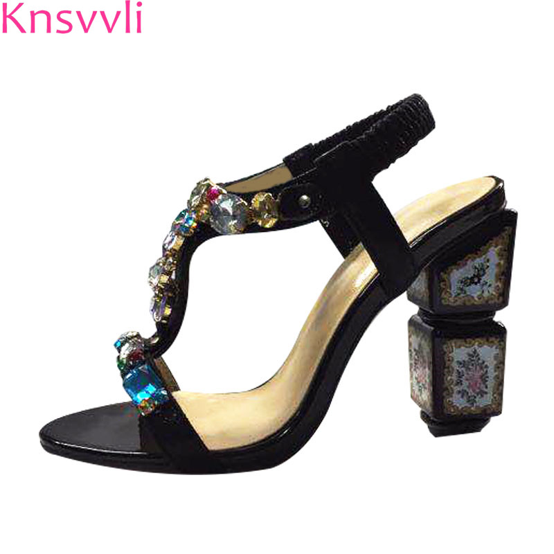 Luxurious Colour Crtsyal High Heels Sandals Women Peep Toe Elastic Band Slip On Strange Painted Pattern Heels Party Shoes WomanLuxurious Colour Crtsyal High Heels Sandals Women Peep Toe Elastic Band Slip On Strange Painted Pattern Heels Party Shoes Woman