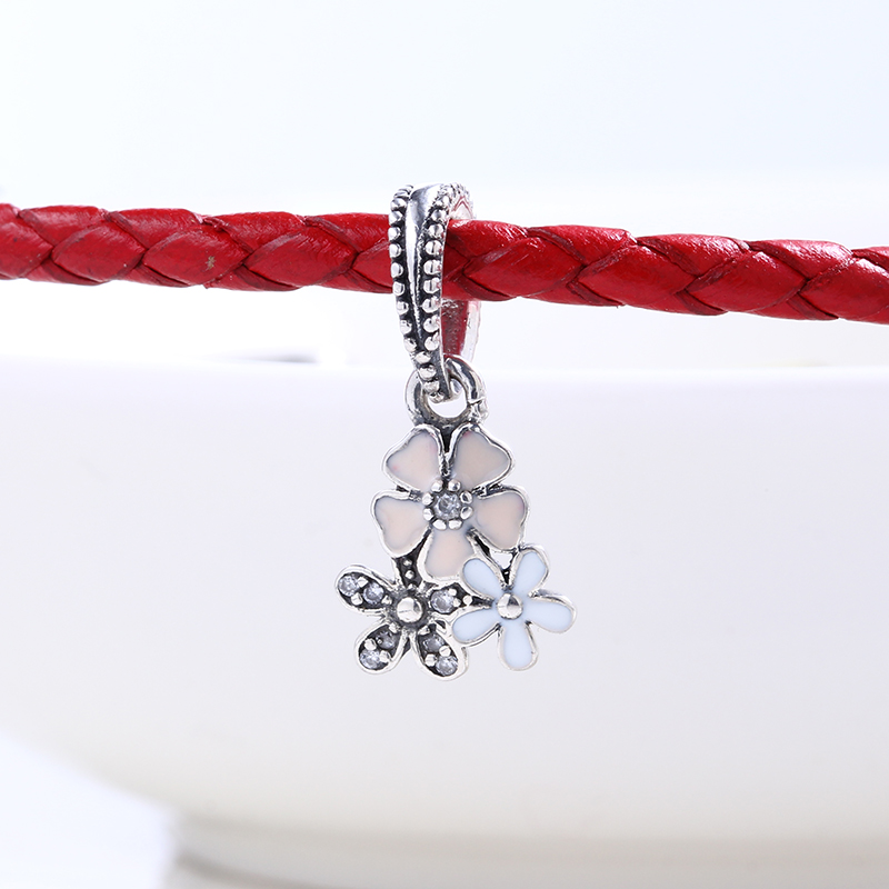 New 100% 925 Sterling Silver Fit Original Pandora Bracelet Poetic Blooms Pendant Charm DIY Charms Beads for Jewelry Making Gift