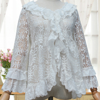 Spring Summer Women S Solid Lolita Shirt Chiffon Blouse Loose Lace Hollow Out Floral Embroidery Cardigan
