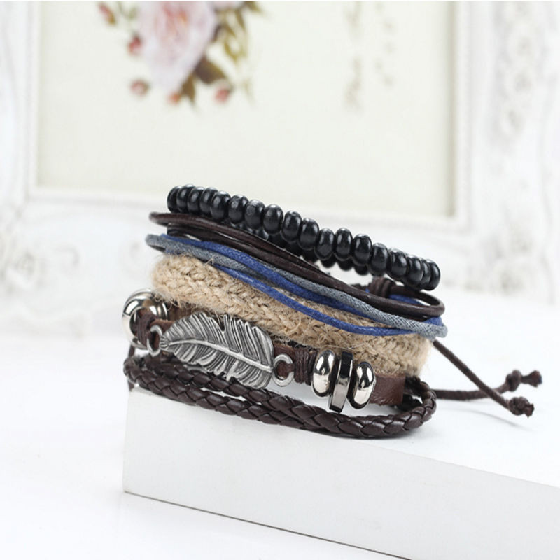 Men's Braided Leather Stainless Steel Cuff Multi-layer Bracelet
