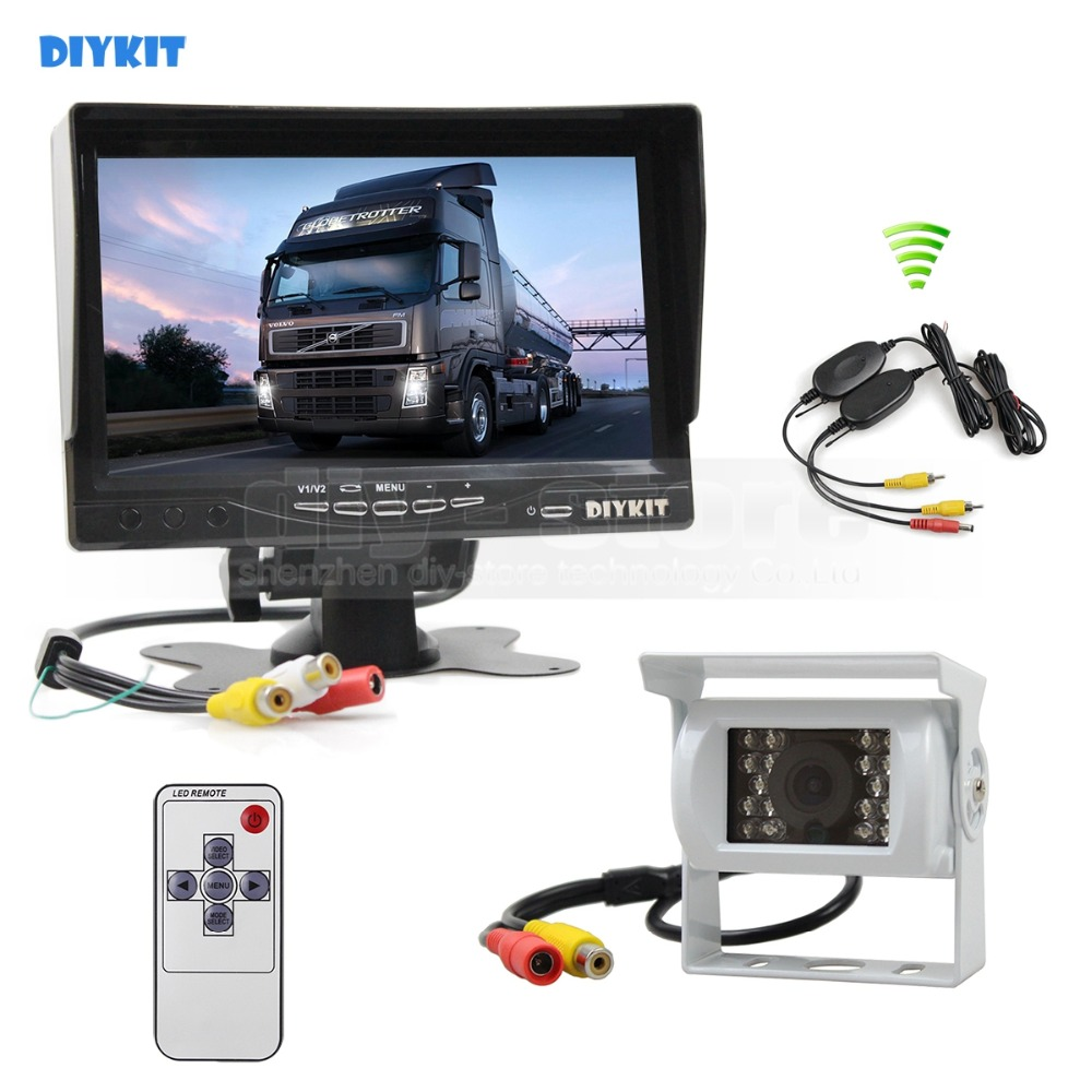 DIYKIT Wireless 7inch TFT LCD Car Monitor Reverse Rear View Monitor + IR Night Vision HD CCD Rear View Car Camera White